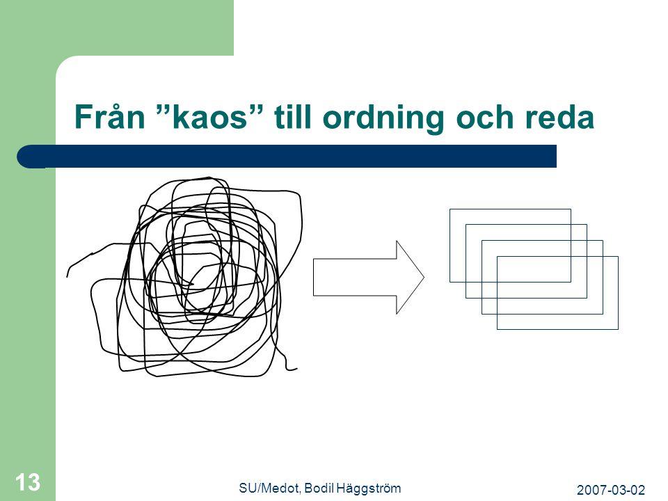 """2007-03-02 SU/Medot, Bodil Häggström 13 Från """"kaos"""" till ordning och reda"""