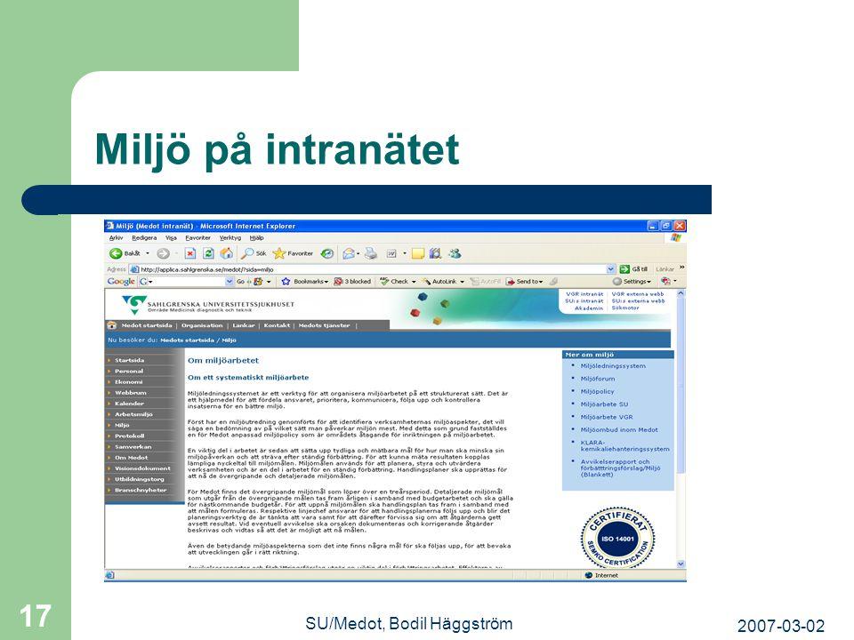 2007-03-02 SU/Medot, Bodil Häggström 17 Miljö på intranätet