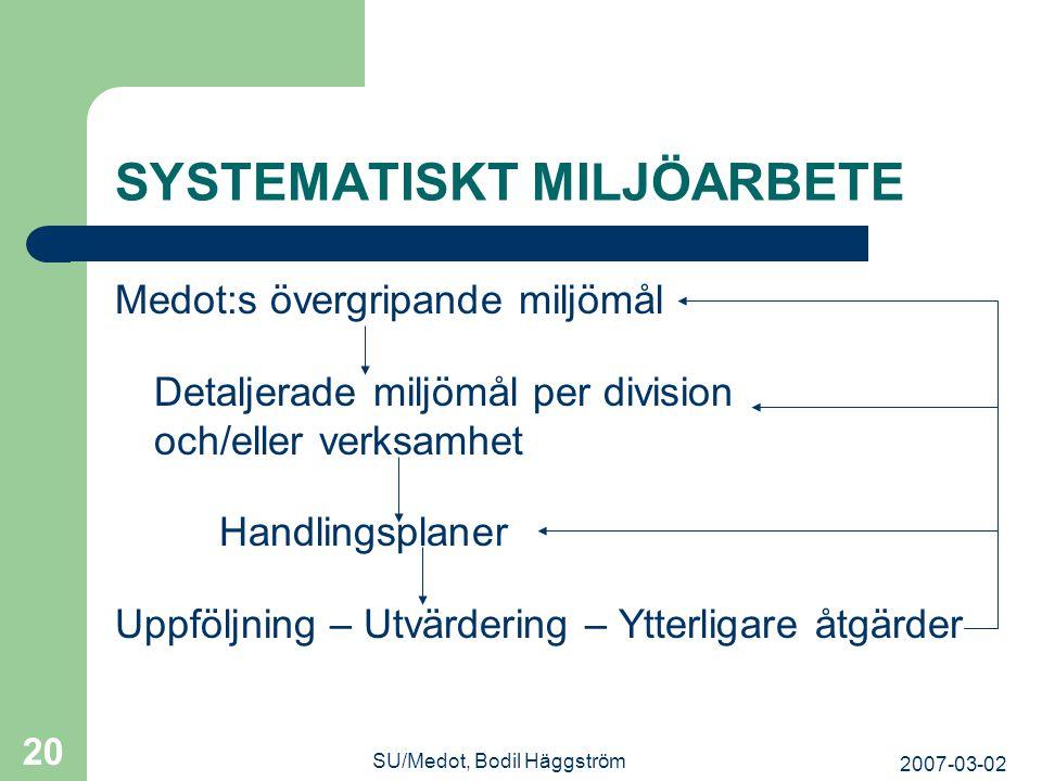 2007-03-02 SU/Medot, Bodil Häggström 20 SYSTEMATISKT MILJÖARBETE Medot:s övergripande miljömål Detaljerade miljömål per division och/eller verksamhet