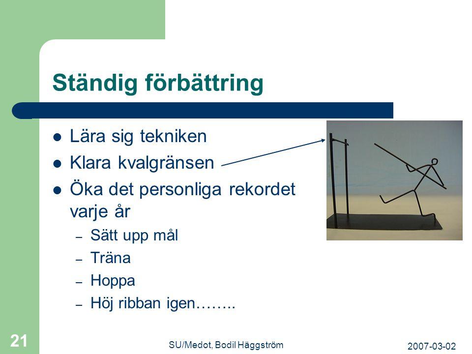 2007-03-02 SU/Medot, Bodil Häggström 21 Ständig förbättring  Lära sig tekniken  Klara kvalgränsen  Öka det personliga rekordet varje år – Sätt upp