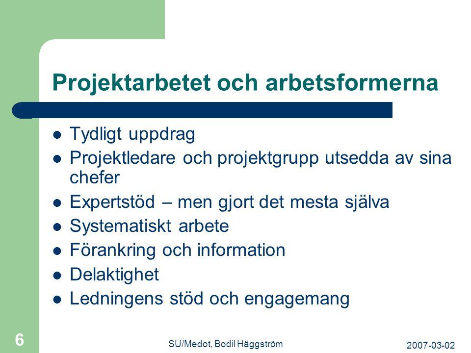 2007-03-02 SU/Medot, Bodil Häggström 6 Projektarbetet och arbetsformerna  Tydligt uppdrag  Projektledare och projektgrupp utsedda av sina chefer  E