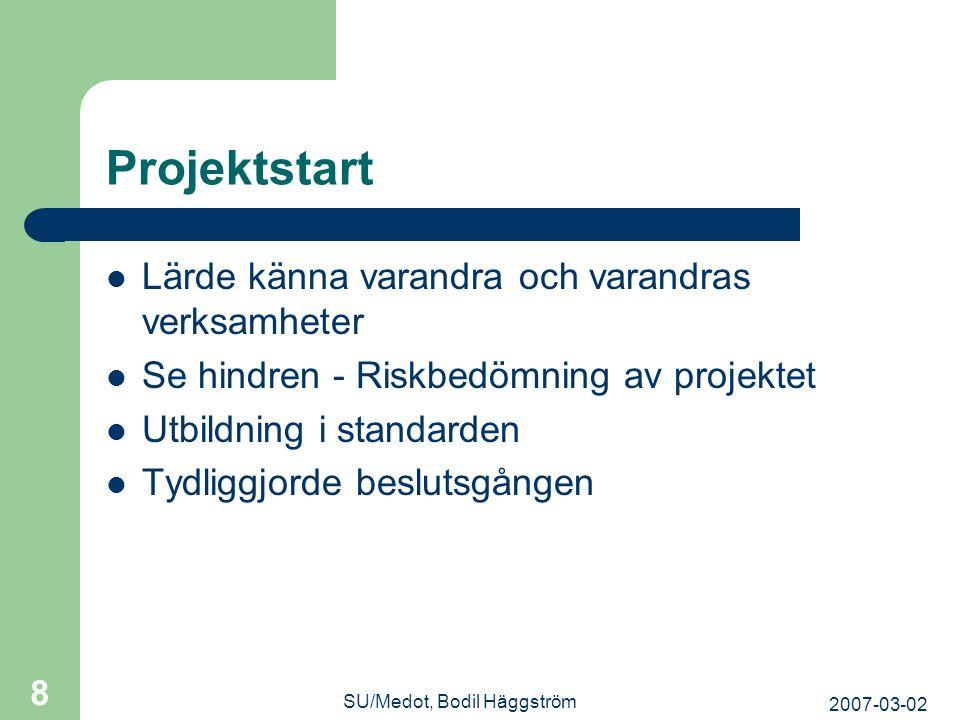 2007-03-02 SU/Medot, Bodil Häggström 8 Projektstart  Lärde känna varandra och varandras verksamheter  Se hindren - Riskbedömning av projektet  Utbi