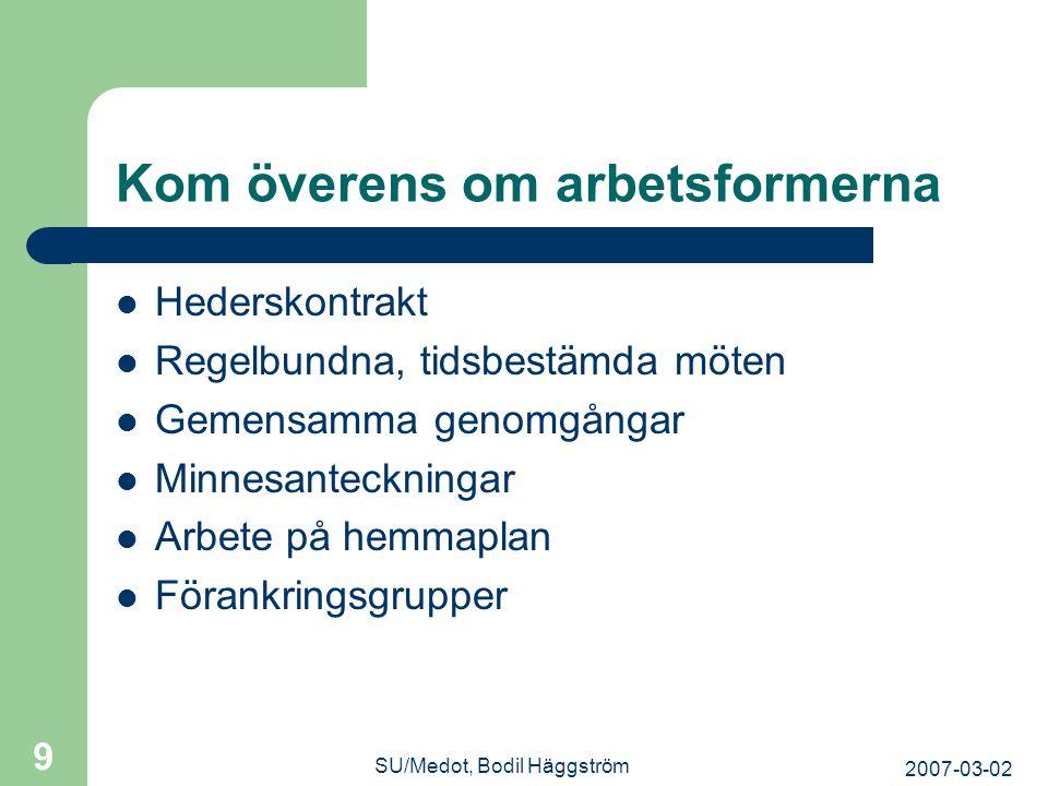 2007-03-02 SU/Medot, Bodil Häggström 9 Kom överens om arbetsformerna  Hederskontrakt  Regelbundna, tidsbestämda möten  Gemensamma genomgångar  Min
