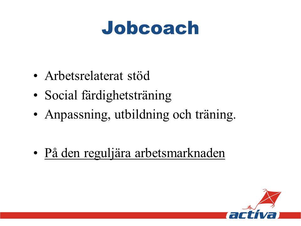 Jobcoach •Arbetsrelaterat stöd •Social färdighetsträning •Anpassning, utbildning och träning. •På den reguljära arbetsmarknaden