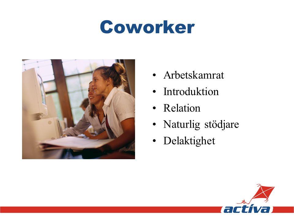 Coworker •Arbetskamrat •Introduktion •Relation •Naturlig stödjare •Delaktighet