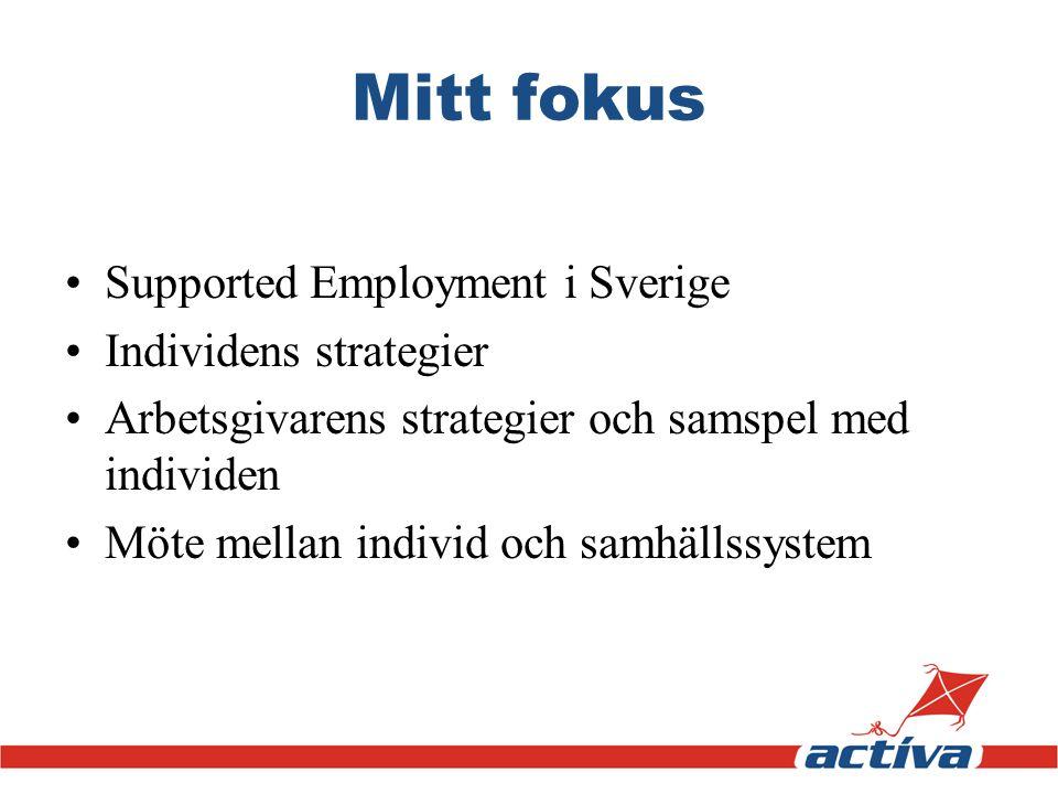 Mitt fokus •Supported Employment i Sverige •Individens strategier •Arbetsgivarens strategier och samspel med individen •Möte mellan individ och samhäl