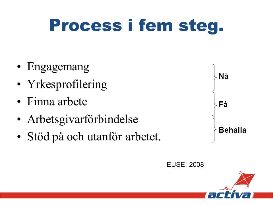 Process i fem steg. •Engagemang •Yrkesprofilering •Finna arbete •Arbetsgivarförbindelse •Stöd på och utanför arbetet. Nå Få Behålla EUSE, 2008