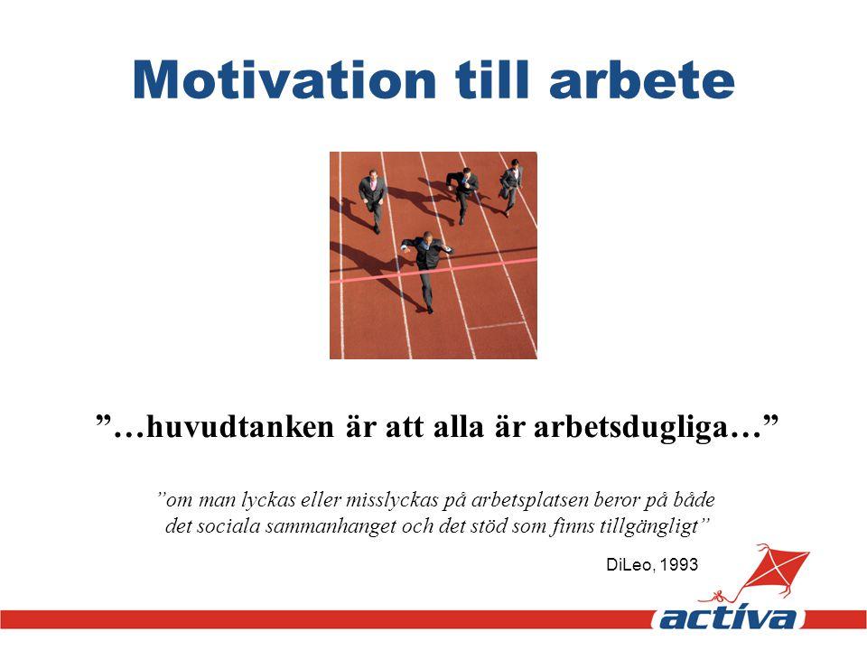 """Motivation till arbete """"…huvudtanken är att alla är arbetsdugliga…"""" """"om man lyckas eller misslyckas på arbetsplatsen beror på både det sociala sammanh"""