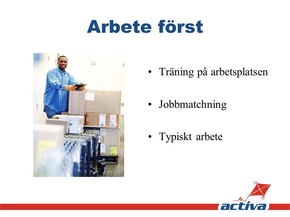 Arbete först •Träning på arbetsplatsen •Jobbmatchning •Typiskt arbete