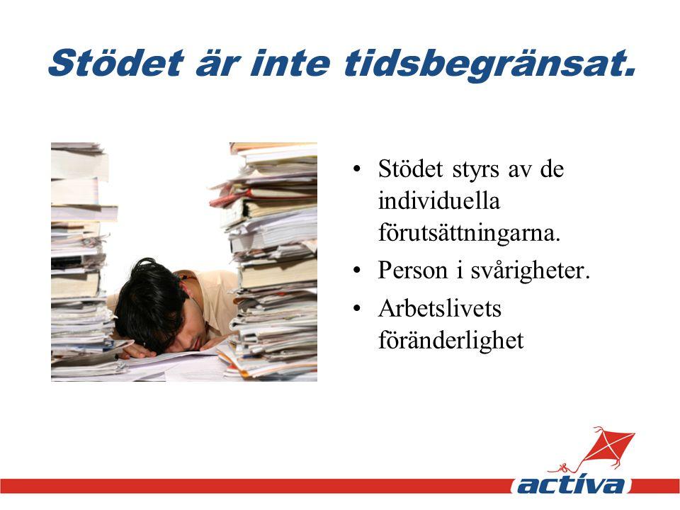 Stödet är inte tidsbegränsat. •Stödet styrs av de individuella förutsättningarna. •Person i svårigheter. •Arbetslivets föränderlighet