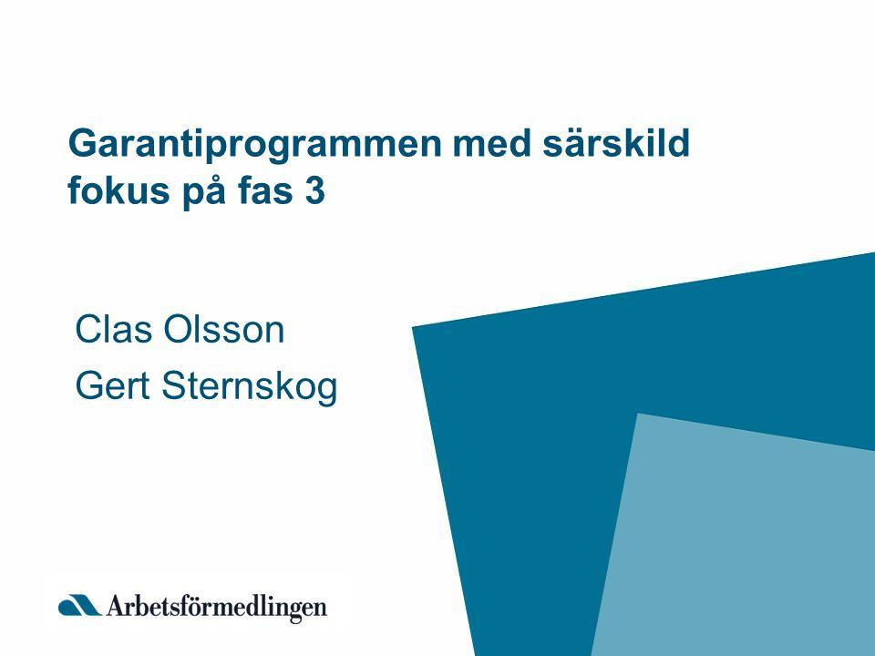 Garantiprogrammen med särskild fokus på fas 3 Clas Olsson Gert Sternskog