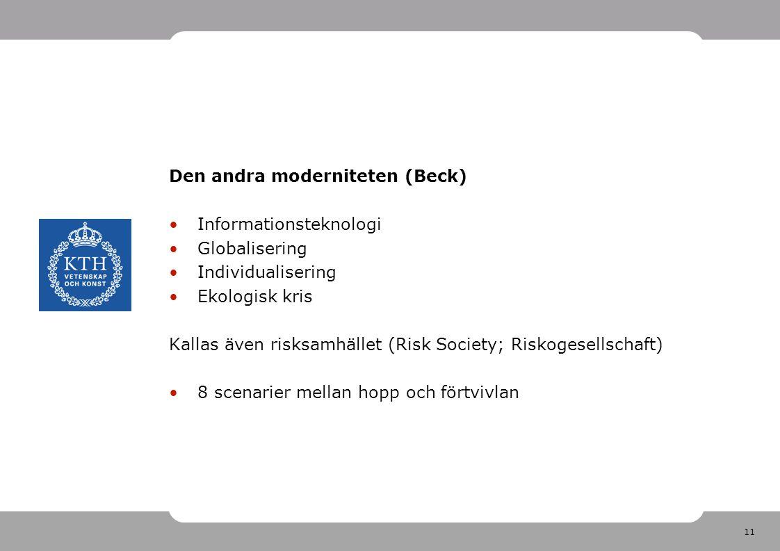11 Den andra moderniteten (Beck) •Informationsteknologi •Globalisering •Individualisering •Ekologisk kris Kallas även risksamhället (Risk Society; Riskogesellschaft) •8 scenarier mellan hopp och förtvivlan