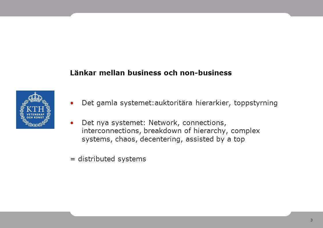 3 Länkar mellan business och non-business •Det gamla systemet:auktoritära hierarkier, toppstyrning •Det nya systemet: Network, connections, interconne