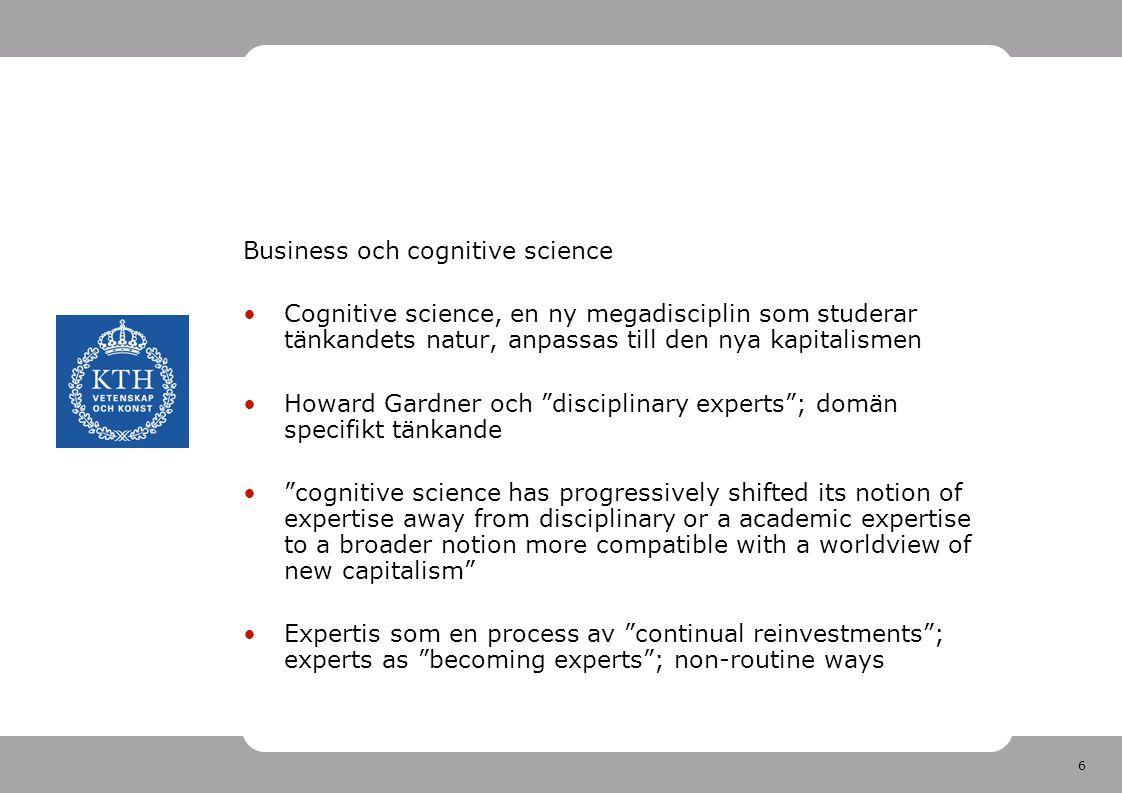 6 Business och cognitive science •Cognitive science, en ny megadisciplin som studerar tänkandets natur, anpassas till den nya kapitalismen •Howard Gar