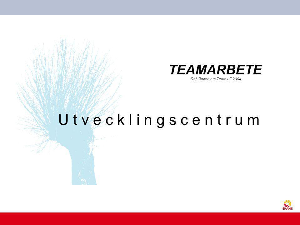 U t v e c k l i n g s c e n t r u m Framgångsfaktorer för team-arbete (2) Lös svåra uppgifter tillsammans