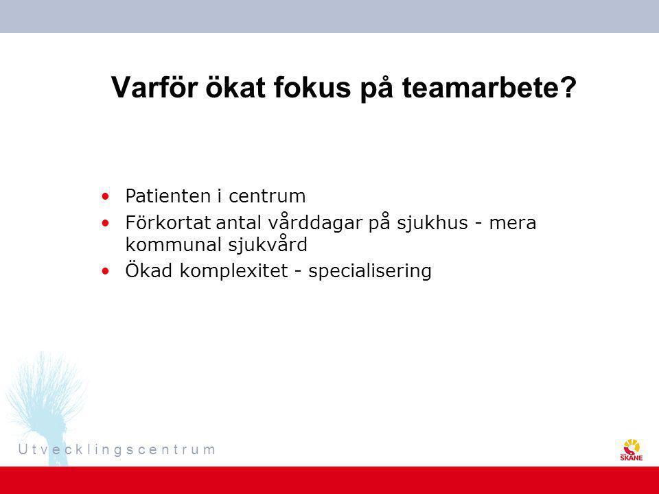 U t v e c k l i n g s c e n t r u m Varför ökat fokus på teamarbete? •Patienten i centrum •Förkortat antal vårddagar på sjukhus - mera kommunal sjukvå