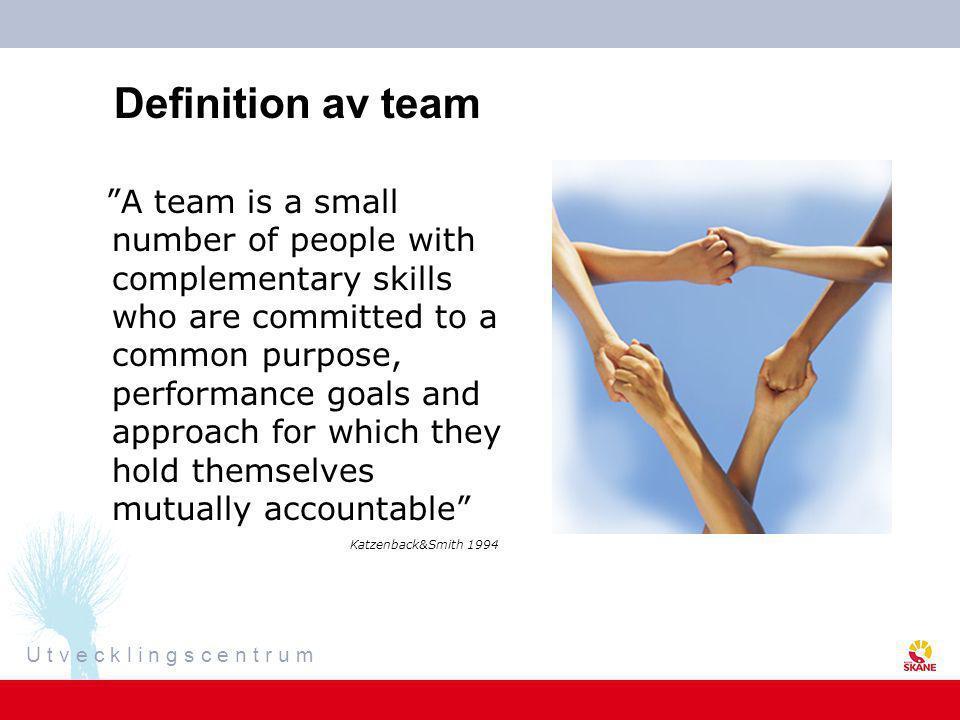 U t v e c k l i n g s c e n t r u m Olika typer av team •Nätverks- och virtuella team – oberoende av fysisk närhet, tid och rum •Processteam - föreslår processer •Produktionsteam ingår i verksamheten •Tvärfunktionella team – delar av en organisation som kan fås att fungera i samverkan Teamarbete i olika former och på olika nivåer