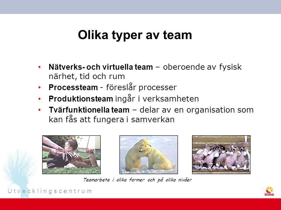 U t v e c k l i n g s c e n t r u m Olika typer av team •Nätverks- och virtuella team – oberoende av fysisk närhet, tid och rum •Processteam - föreslå