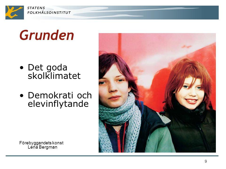 9 Grunden •Det goda skolklimatet •Demokrati och elevinflytande Förebyggandets konst Lena Bergman
