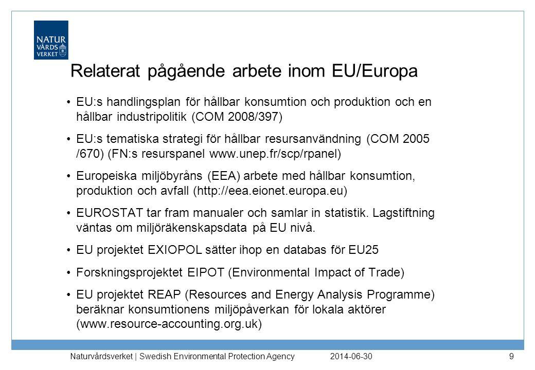 2014-06-30 Naturvårdsverket | Swedish Environmental Protection Agency 9 Relaterat pågående arbete inom EU/Europa •EU:s handlingsplan för hållbar konsumtion och produktion och en hållbar industripolitik (COM 2008/397) •EU:s tematiska strategi för hållbar resursanvändning (COM 2005 /670) (FN:s resurspanel www.unep.fr/scp/rpanel) •Europeiska miljöbyråns (EEA) arbete med hållbar konsumtion, produktion och avfall (http://eea.eionet.europa.eu) •EUROSTAT tar fram manualer och samlar in statistik.