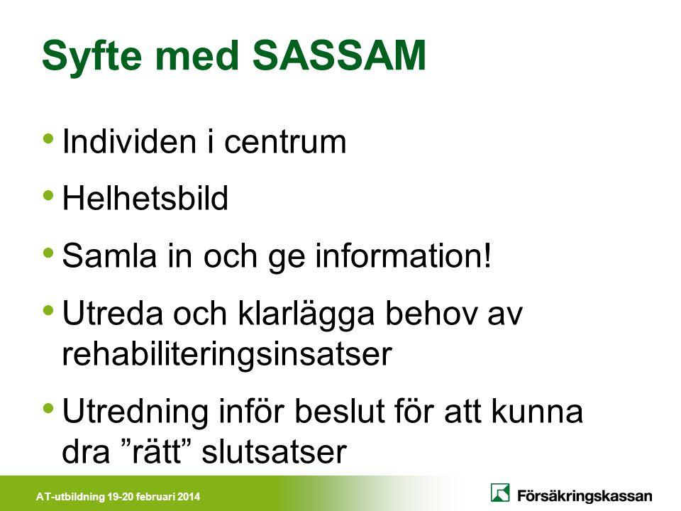 AT-utbildning 19-20 februari 2014 Syfte med SASSAM • Individen i centrum • Helhetsbild • Samla in och ge information! • Utreda och klarlägga behov av