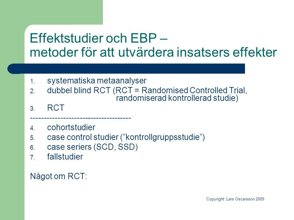 Effektstudier och EBP – metoder för att utvärdera insatsers effekter 1. systematiska metaanalyser 2. dubbel blind RCT (RCT = Randomised Controlled Tri