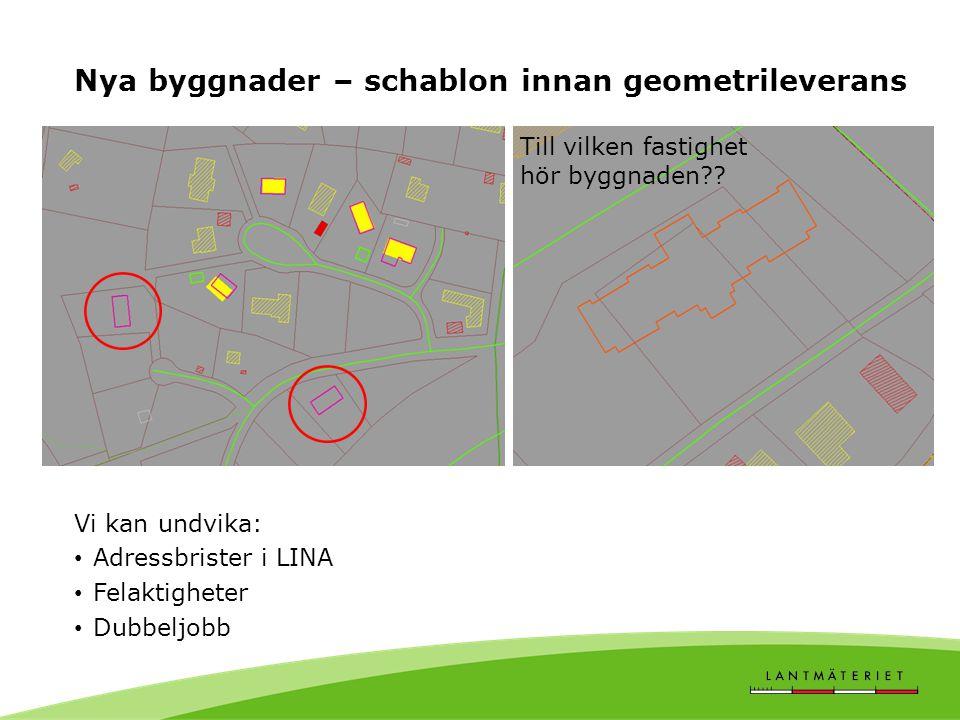 Nya byggnader – schablon innan geometrileverans Vi kan undvika: • Adressbrister i LINA • Felaktigheter • Dubbeljobb Till vilken fastighet hör byggnade