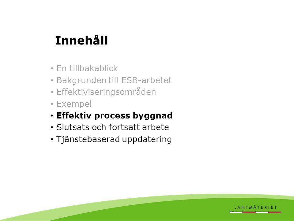 Innehåll • En tillbakablick • Bakgrunden till ESB-arbetet • Effektiviseringsområden • Exempel • Effektiv process byggnad • Slutsats och fortsatt arbet