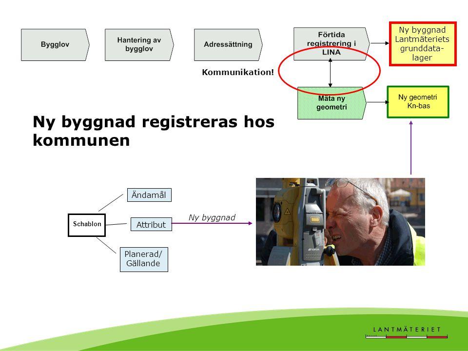 Schablon Attribut Planerad/ Gällande Ny byggnad Ändamål Kommunikation! Ny byggnad registreras hos kommunen Ny byggnad Lantmäteriets grunddata- lager