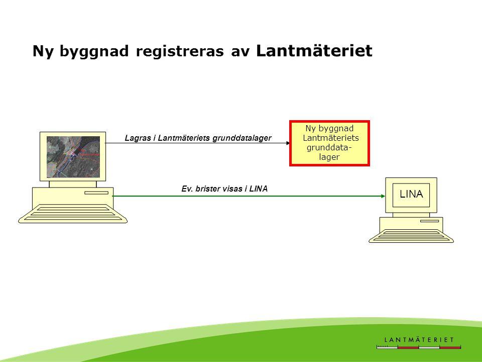 Ny byggnad registreras av Lantmäteriet Lagras i Lantmäteriets grunddatalager LINA Ev. brister visas i LINA Ny byggnad Lantmäteriets grunddata- lager