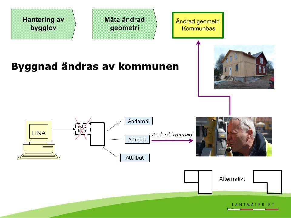 Byggnad ändras av kommunen LINA scha blon Attribut Ändrad byggnad Ändamål Alternativt