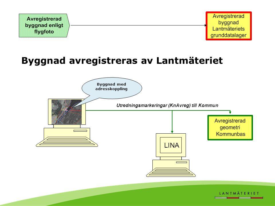 Byggnad avregistreras av Lantmäteriet Byggnad med adresskoppling LINA Utredningsmarkeringar (KnAvreg) till Kommun
