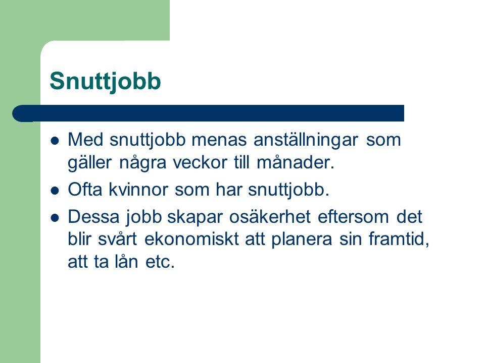 Snuttjobb  Med snuttjobb menas anställningar som gäller några veckor till månader.  Ofta kvinnor som har snuttjobb.  Dessa jobb skapar osäkerhet ef