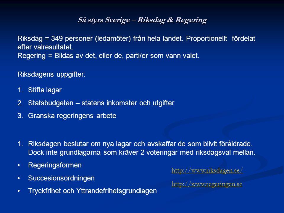 Så styrs Sverige – Riksdag & Regering Riksdag = 349 personer (ledamöter) från hela landet. Proportionellt fördelat efter valresultatet. Regering = Bil