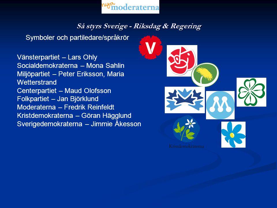 Så styrs Sverige - Riksdag & Regering Symboler och partiledare/språkrör Vänsterpartiet – Lars Ohly Socialdemokraterna – Mona Sahlin Miljöpartiet – Pet