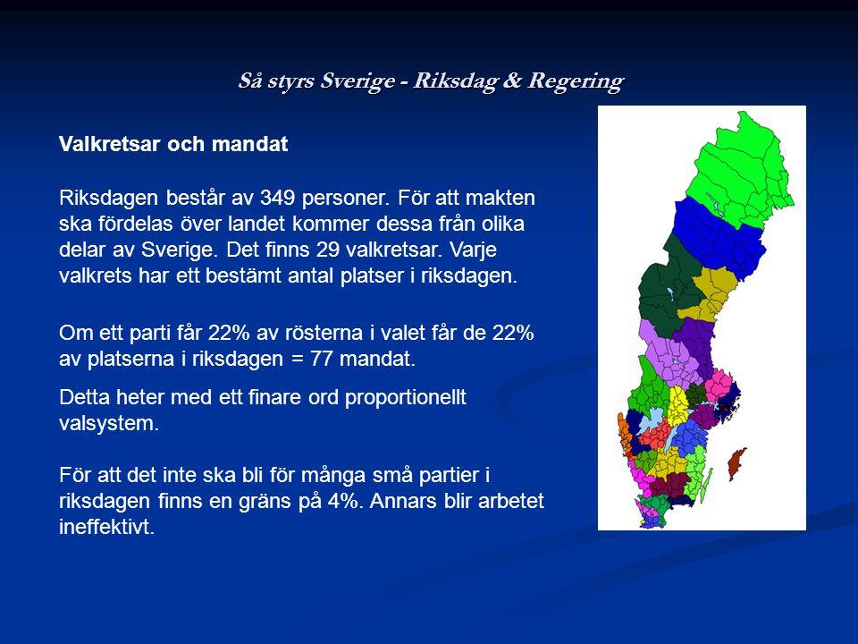 Så styrs Sverige - Riksdag & Regering Valkretsar och mandat Riksdagen består av 349 personer. För att makten ska fördelas över landet kommer dessa frå