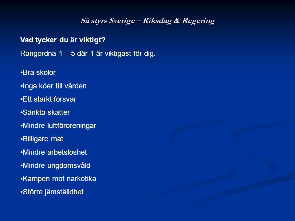 Så styrs Sverige – Riksdag & Regering Vad tycker du är viktigt? Rangordna 1 – 5 där 1 är viktigast för dig. •Bra skolor •Inga köer till vården •Ett st
