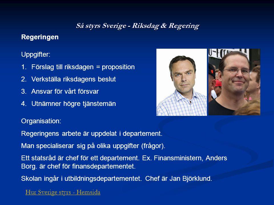 Så styrs Sverige - Riksdag & Regering Regeringen Uppgifter: 1.Förslag till riksdagen = proposition 2.Verkställa riksdagens beslut 3.Ansvar för vårt fö
