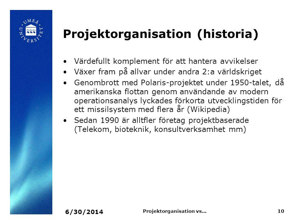 Projektorganisation (historia) 6/30/2014 10Projektorganisation vs... •Värdefullt komplement för att hantera avvikelser •Växer fram på allvar under and