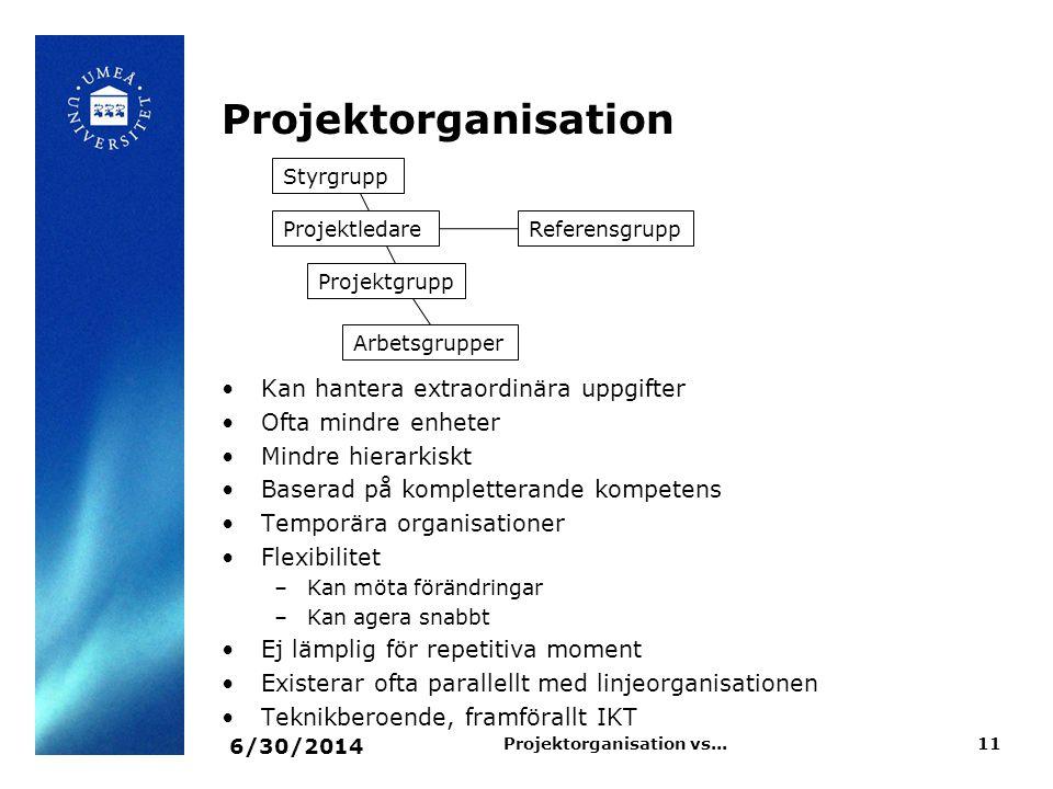 Projektorganisation •Kan hantera extraordinära uppgifter •Ofta mindre enheter •Mindre hierarkiskt •Baserad på kompletterande kompetens •Temporära orga