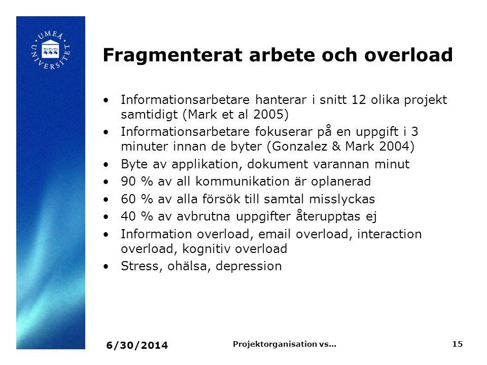 Fragmenterat arbete och overload •Informationsarbetare hanterar i snitt 12 olika projekt samtidigt (Mark et al 2005) •Informationsarbetare fokuserar p