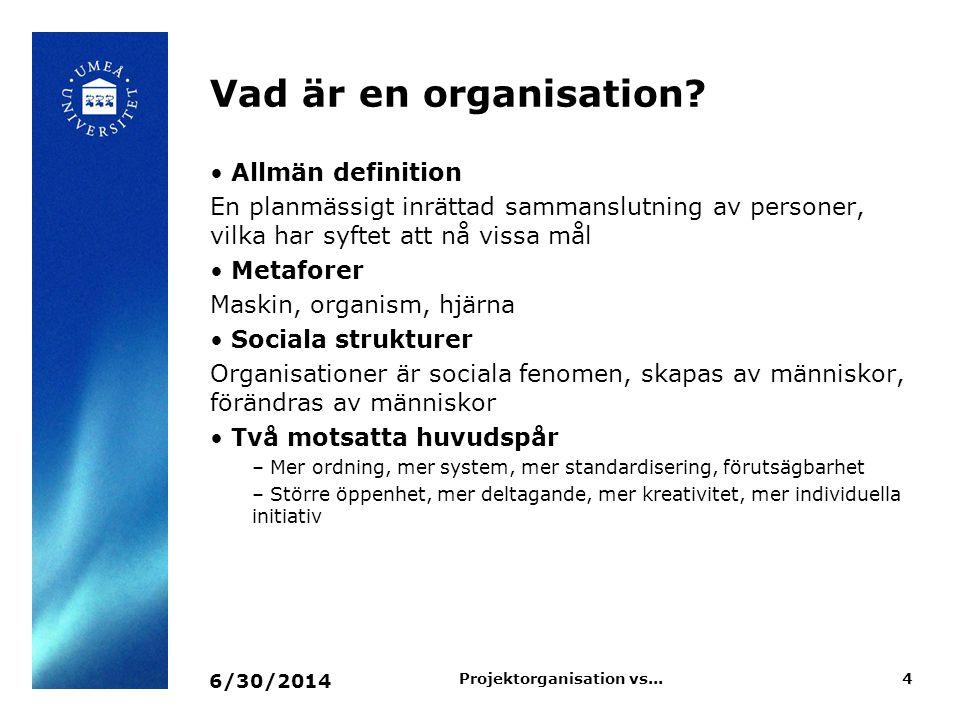 Vad är en organisation? • Allmän definition En planmässigt inrättad sammanslutning av personer, vilka har syftet att nå vissa mål • Metaforer Maskin,
