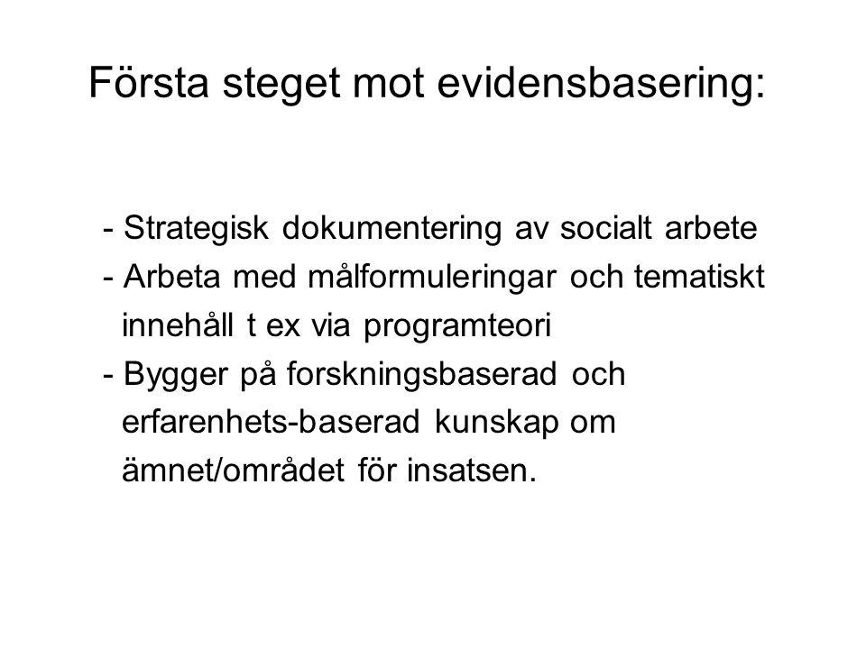 Första steget mot evidensbasering: - Strategisk dokumentering av socialt arbete - Arbeta med målformuleringar och tematiskt innehåll t ex via programt