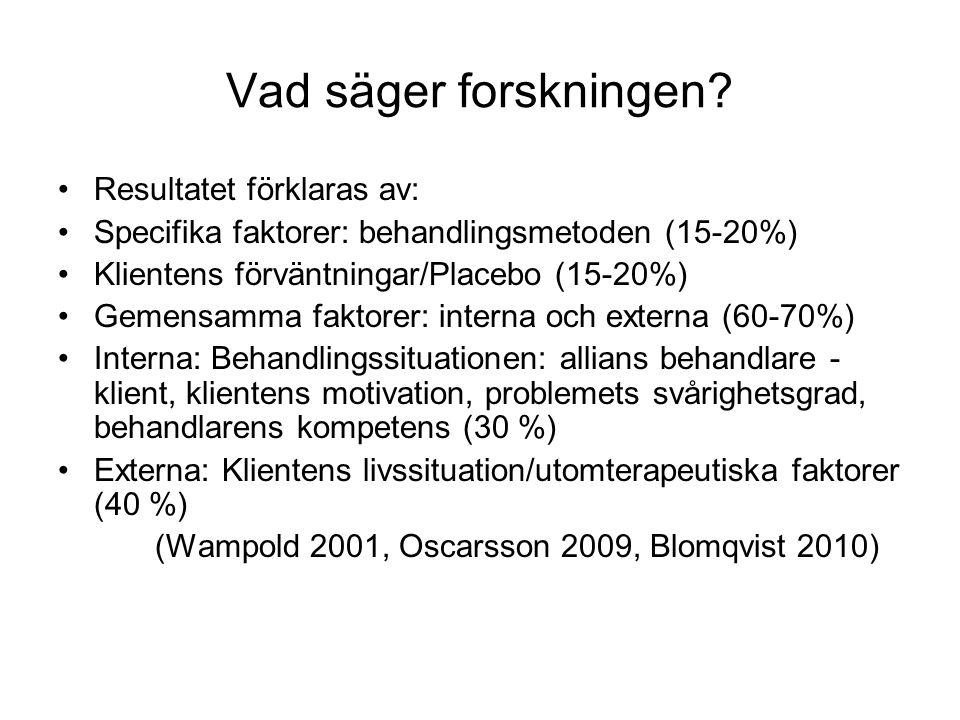 Vad säger forskningen? •Resultatet förklaras av: •Specifika faktorer: behandlingsmetoden (15-20%) •Klientens förväntningar/Placebo (15-20%) •Gemensamm