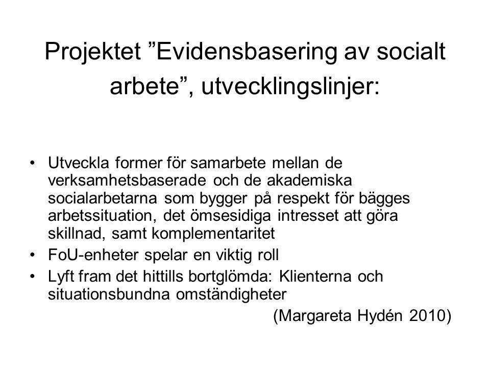 """Projektet """"Evidensbasering av socialt arbete"""", utvecklingslinjer: •Utveckla former för samarbete mellan de verksamhetsbaserade och de akademiska socia"""