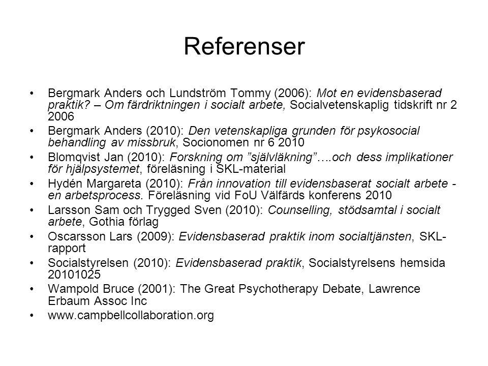 Referenser •Bergmark Anders och Lundström Tommy (2006): Mot en evidensbaserad praktik? – Om färdriktningen i socialt arbete, Socialvetenskaplig tidskr