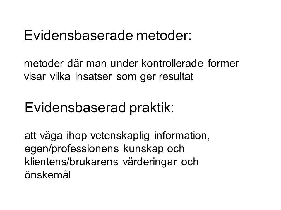 Referenser •Bergmark Anders och Lundström Tommy (2006): Mot en evidensbaserad praktik.