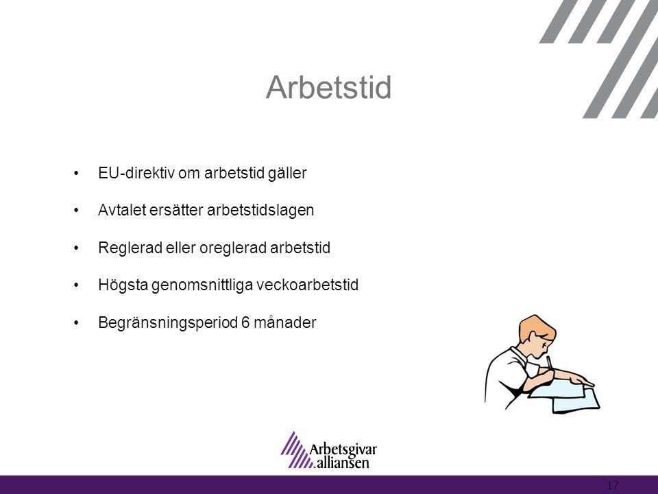 Arbetstid •EU-direktiv om arbetstid gäller •Avtalet ersätter arbetstidslagen •Reglerad eller oreglerad arbetstid •Högsta genomsnittliga veckoarbetstid