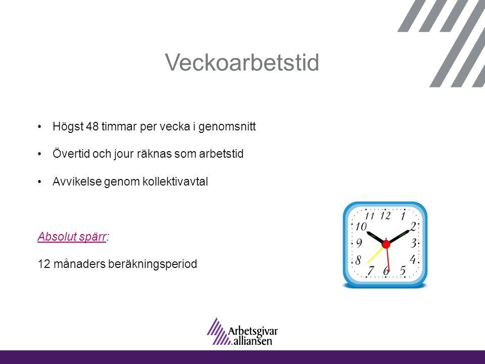 Veckoarbetstid •Högst 48 timmar per vecka i genomsnitt •Övertid och jour räknas som arbetstid •Avvikelse genom kollektivavtal Absolut spärr: 12 månade