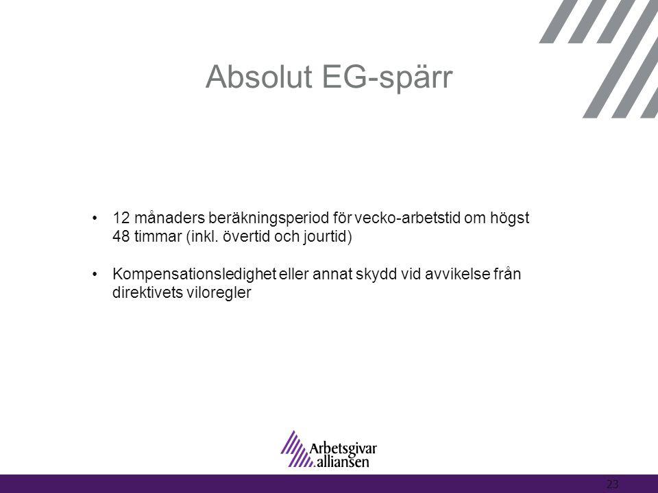 Absolut EG-spärr •12 månaders beräkningsperiod för vecko-arbetstid om högst 48 timmar (inkl. övertid och jourtid) •Kompensationsledighet eller annat s